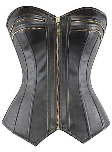 Leather Strapless Bustier - lttcbro Women's Strapless Faux Leather Overbust Corset Bustier Top Medium Black