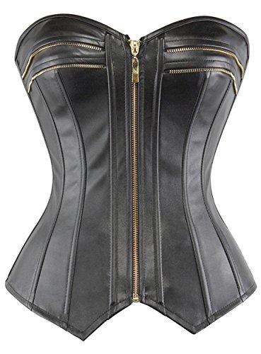 lttcbro Women's Strapless Faux Leather Overbust Corset Bustier Top Large Black
