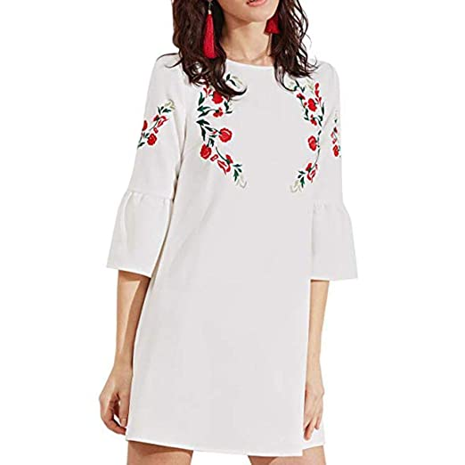 fca4069f5 DEATU Ladies Dress, Teen Girls Womens Cute Bell Sleeve Mini Dress  Embroidered Tunic Dress(