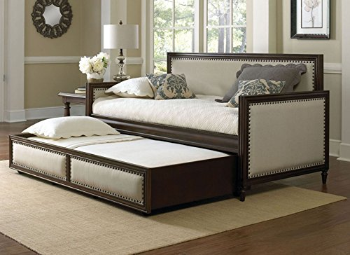 Leggett & Platt Grandover Wood Daybed with Cream Upholstered Panels and Roll Out Trundle Drawer, Espresso Finish, Twin