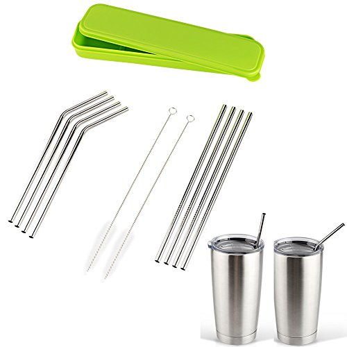 Accmor 18/8 Stainless Steel Straws, Reusable Metal Drinking Straws for 20 Oz Yeti Tumbler Rambler Cups(8, FBA)