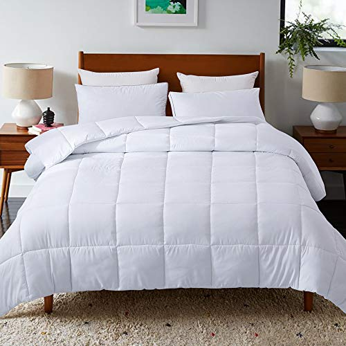 DOWNCOOLDown Alternative Quilted Comforter- White Lightweight Duvet Insert or Stand-Alone Comforter with Corner Tabs- Twin/Twin XL, 64x88Inches