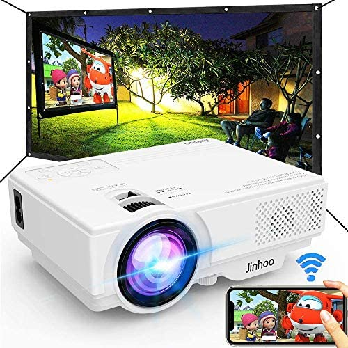 "Jinhoo WiFi Projector, [100"" Projector Screen Included] 6500L Outdoor Movie Projector, 1080P Supports Synchronize Smartphone Screen via WiFi/USB Cable for Home Entertainment"