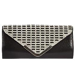 Digabi Simple Decent purse Women Rhinestone Crystal Purse Envelope Evening Bag (One Size : 11.5 x 5.5 x 2 IN, Black)