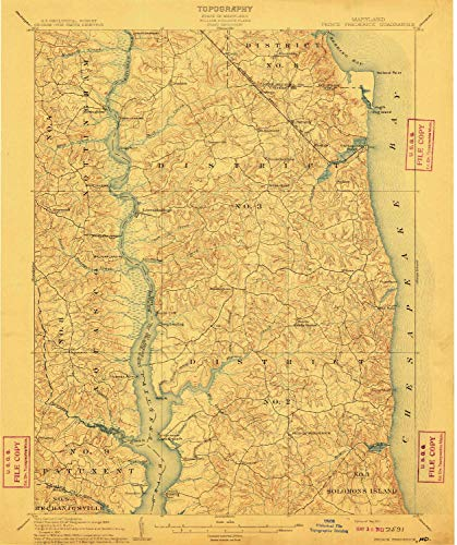 YellowMaps Prince Frederick MD topo map, 1:62500 Scale, 15 X 15 Minute, Historical, 1910, 19.7 x 16.5 in - Polypropylene (Academy Hog)