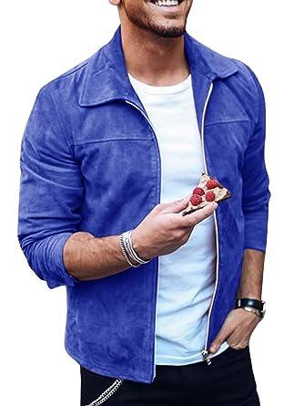 1c85fcf48331 Tutorutor Male Jackets Men Full Zipper Autumn Winter Coat Soft Faux Suede  Bomber Jacket Blue