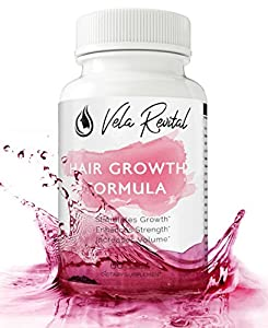 Vela Revital - All Natural Hair Growth Formula w/ Biotin and DHT Blocking Ingredients For All Hair Types Stronger Longer Healthier Hair - Potent Vitamins Advanced Supplement Products 60 Capsules Pills