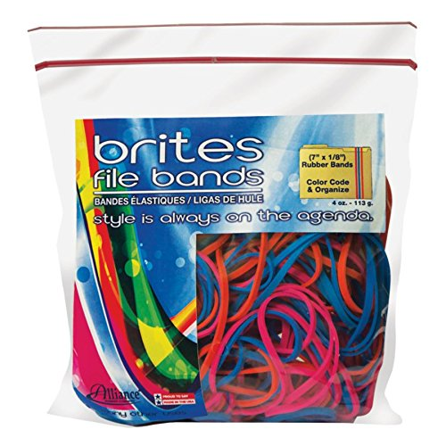 Alliance Rubber Brites File Bands, Assorted, Bag of 50 ()