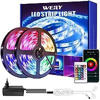 Weily Ledstrip, 15 m, wifi, RGB, met afstandsbediening, kleurverandering, SMD 5050 leds, sync voor muziek, compatibel met...