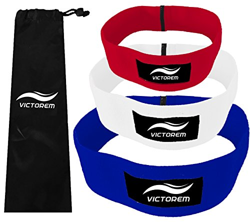 VICTOREM Hip Band - Thigh - Hip Resistance - Booty Exercise Resistance Band - Resistance Loop - Stretching, Lifting, Squatting, Pilates (3 Sizes (Heavy, Medium, Light Resistance), Red, White, Blue)