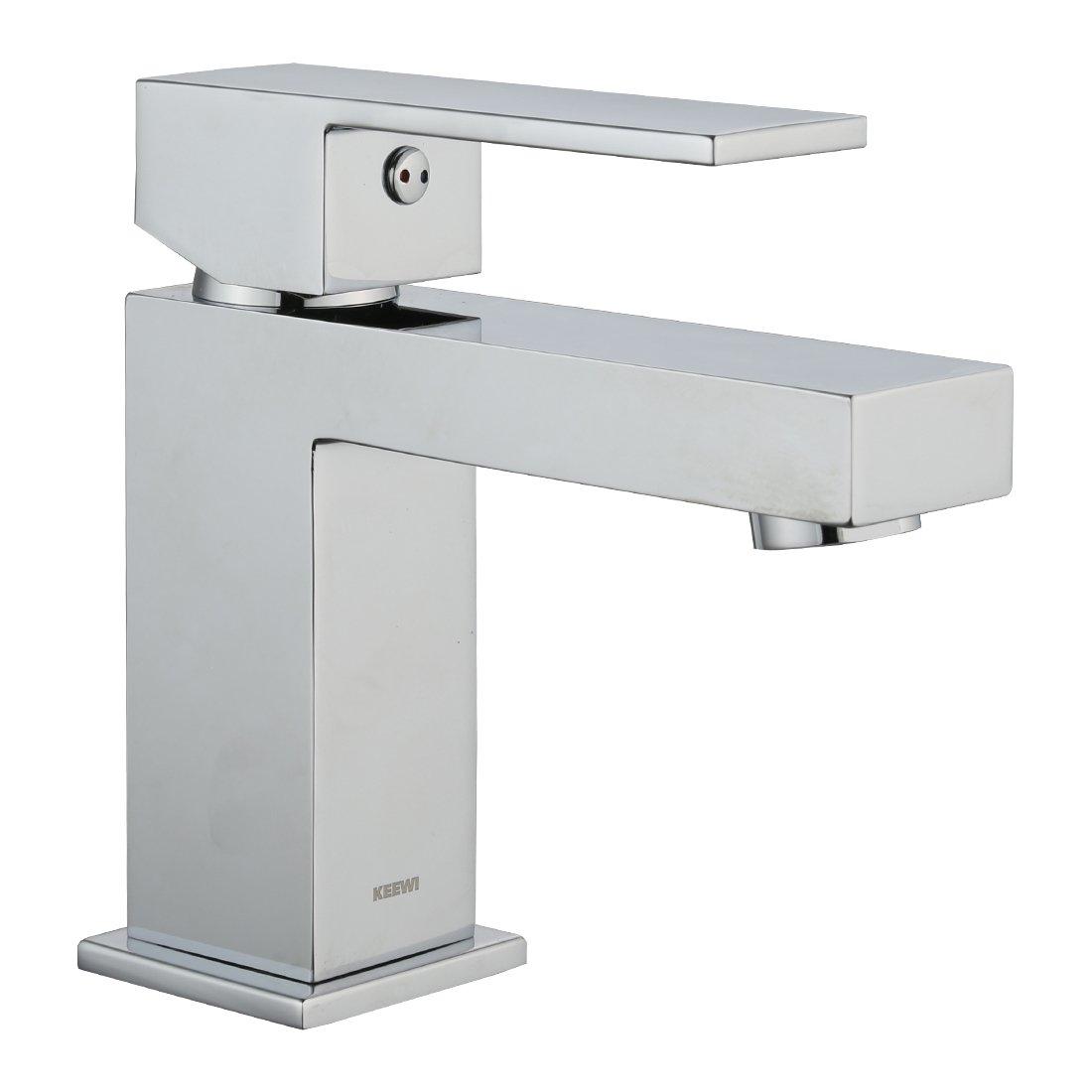 Keewi Premium Solid Modern Brass Bathroom Faucet Chrome Single