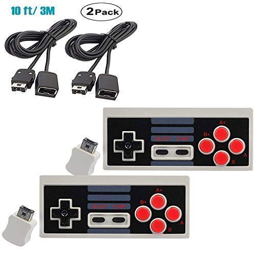 Wireless Controller for Nintendo Nes Classic Edition Mini Nitendo Game System Entertainment Console Games Systems USB Adapter Video Mintendo Gaming Bluetooth Retro 2.4G Extension Cable 10FT (2-Pack)