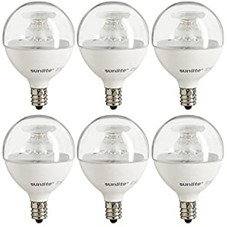 Sunlite 40294 LED Globe G16.5 5W (40 Watt Incandescent) Dimmable Energy Star 2700K Warm White Light Bulb (6 Pack), Clear, Equivalent, 6 Count