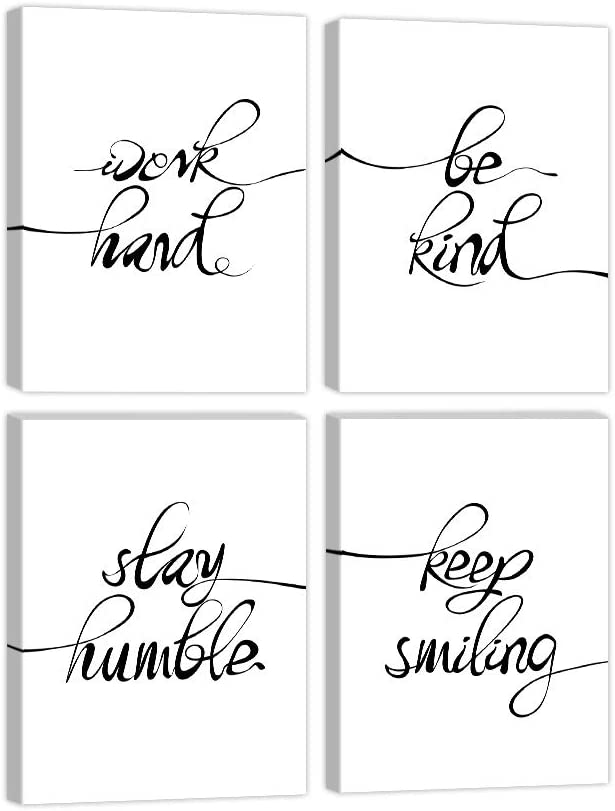 4 Panels Inspirational Quote Art Painting Work Hard Be Kind Stay Humble Keep Smiling Art Print Canvas Picture Motivational Phrases Wall Art for Office or Living Room Home Decor Frame Ready to Hang