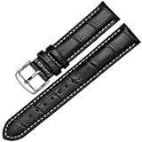 12-17mm New Genuine Leather Silver Clasp Wrist Watch Bands Strap Replacement for Ladies Womens (15mm, Black & White Line)