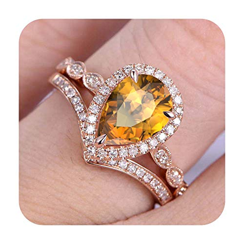 RUDRAFASHION 7x9mm Pear Cut Created Citrine & Diamond 14k Rose Gold Plated Art Deco Wedding Bridal Halo Ring Cuvred 'V' Band for Women's