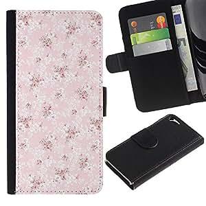 Apple iPhone 5 / iPhone 5S Modelo colorido cuero carpeta tirón caso cubierta piel Holster Funda protección - Wallpaper Pink Vintage Pattern