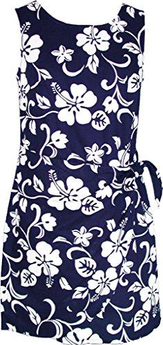 RJC Women's Hibiscus Pareo Hawaiian Mock Wrap Sarong Dress Navy Blue Large