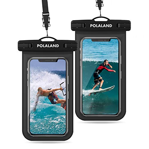 [해외]Universal Waterproof Case Polaland IPX8 Waterproof Dry Bag Phone Pouch for iPhone Xs Max XR8 7 6 Plus Galaxy S10S9 up to 6.5 for Beach Swimming Snorkeling Diving Kayaking -Black(2-Pack) / Universal Waterproof Case, Polaland IPX8 Wa...
