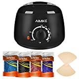 Hair Removal Wax Heater - Wax Warmer, Hair Removal Waxing Kit, Upgraded Wax Heater with 4 Colors Hard Wax Beans + 20 Wax Applicator Sticks by Aimike