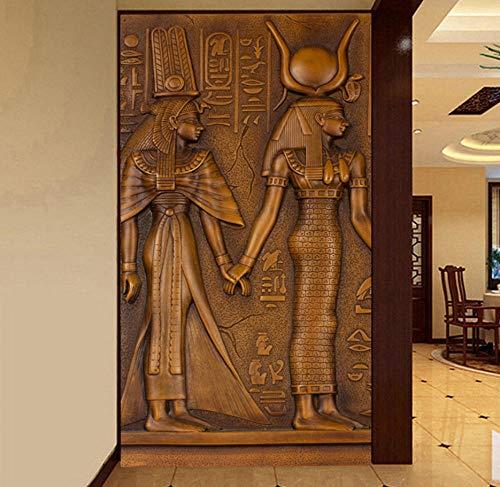 European Style Vintage Egyptian King Queen Sculpture 3D Embossed Photo Mural Wallpaper Hotel Hall Living Room Entrance Wallpaper Yynight-120cmx110cm ()