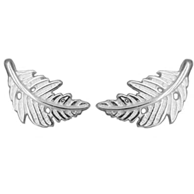 8d83a2f14 Image Unavailable. Image not available for. Color: Helen de Lete Little  Feather Leaf Shape Sterling Silver Stud Earrings
