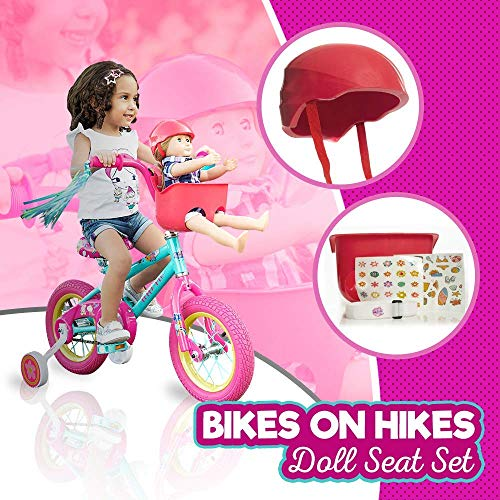 Bikes on Hikes Doll Seat Set – Universal Scooter and Bicycle Carrier and Helmet for Dolls and Stuffed Toys – Fun Hot Pink Bike Accessories and Birthday Gift for Girls