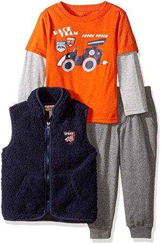 Kids Headquarters Little Boys' Toddler 3 Pieces Vest Pants Set - Twofer Tee, Orange, 4T