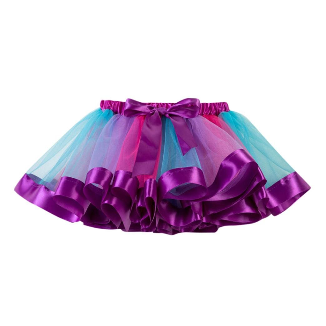 FTXJ Girls Dress Girls Kids Tutu Tulle Party Dance Ballet Toddler Rainbow Baby Costume Skirt (Purple, 4-7 Years)