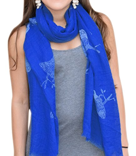 Peach Couture Modern Stunning Colorful Graphic Animal Print Owl Print With Eyelash Fringe Scarf White and Blue Multicolored