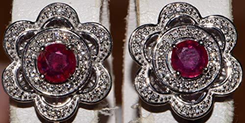 10k White Gold Diamond Ruby Dangle earrings