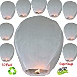 Nuluphu 100% ECO Biodegradable Flying Chinese Sky Lanterns, No Assembly Required(no Metal Wires) White Wish Lights for Weddings, Birthdays, Memorials (Pack of 10)(Giant)