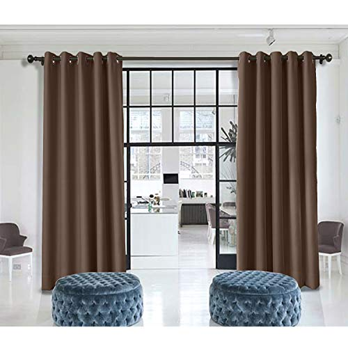 - Macochico Indoor Privacy Curtains 10ft Wide x 7ft Height Antique Bronze Grommet Chocolate Divider Curtains for Bedroom Living Room Office Porch Noise Reducing Heat Insulated (1 Panel)