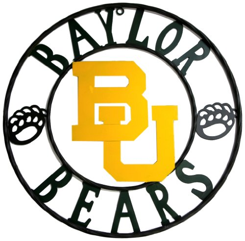 - LRT SALES LLC NCAA Baylor Bears Collegiate Wrought Iron Wall Decor, 18-Inch, Black/Green and Gold