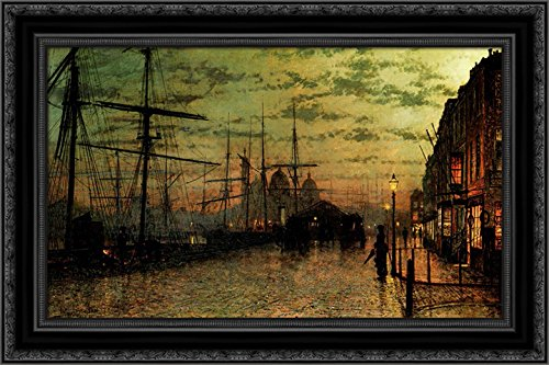 Humber Docks, Hull 24x16 Black Ornate Wood Framed Canvas Art by John Atkinson Grimshaw