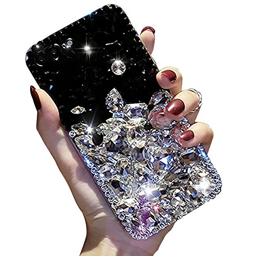 (For Samsung Galaxy J7 2016 Case,For Samsung Galaxy J7 2016 Case,SKYXD 3D Luxury Handmade Glitter Rhinestone Bling Full Crystal Diamond Jewelry Back Case Cover for Samsung Galaxy J7 2016(Black & White))