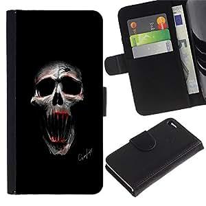 JackGot ( Cráneo malvado ) Apple Apple iPhone 4 / iPhone 4S la tarjeta de Crédito Slots PU Funda de cuero Monedero caso cubierta de piel