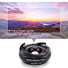 BPSMedia 2 in 1 HD High Quality Mobile Phone Camera Lens Kit - 4K Wide Angle + Aspheric Macro with Lens Hood, Universal Clip-On Cell Phone Camera Lenses Kit for iPhone, Samsung, Smartphones and Tablet (Black)