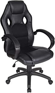 Polar Aurora Office Chair PU Leather High Back Ergonomic Adjustable Racing Desk Chair Task Swivel Executive Computer Chair (BLK)
