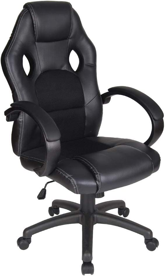 Polar Aurora Office Chair Leather Desk High Back Ergonomic Adjustable Racing Chair Task Swivel Executive Computer Chair (BLK)