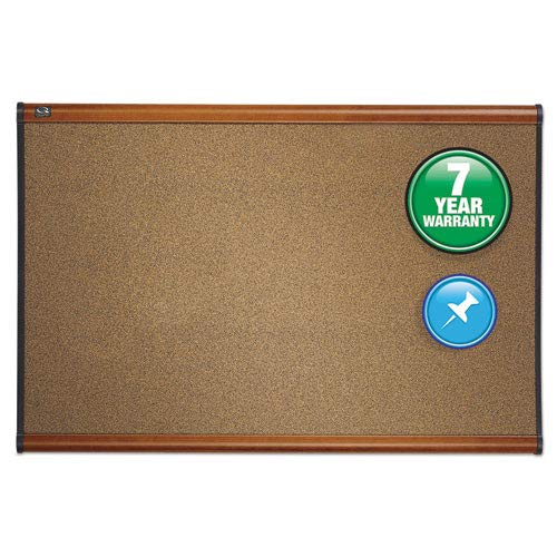 Prestige Bulletin Board, Graphite-Blend Cork, 36 x 24, Cherry Frame, Sold as 1 Each