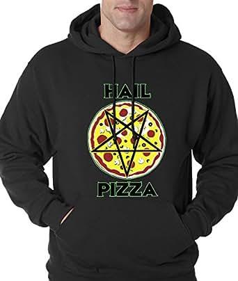 Hoodie Hail Pizza Pentagram Adult Small Black