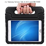 Samsung Galaxy Tablet Case,Y&M(TM)Kids Friendly Kickstand Shockproof Light Weight Rubber High Impact Resistant Rugged Protective Convertible Handle Tablet Case For Samsung Galaxy Tab A SM-T350 8.0 inch (Black)