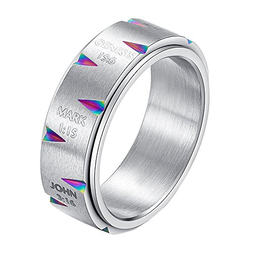 ss Steel Spinner Christian Prayer Bible Purity Rings Band 8MM Silver Rainbow Size 7 (Prayer Spin Ring)