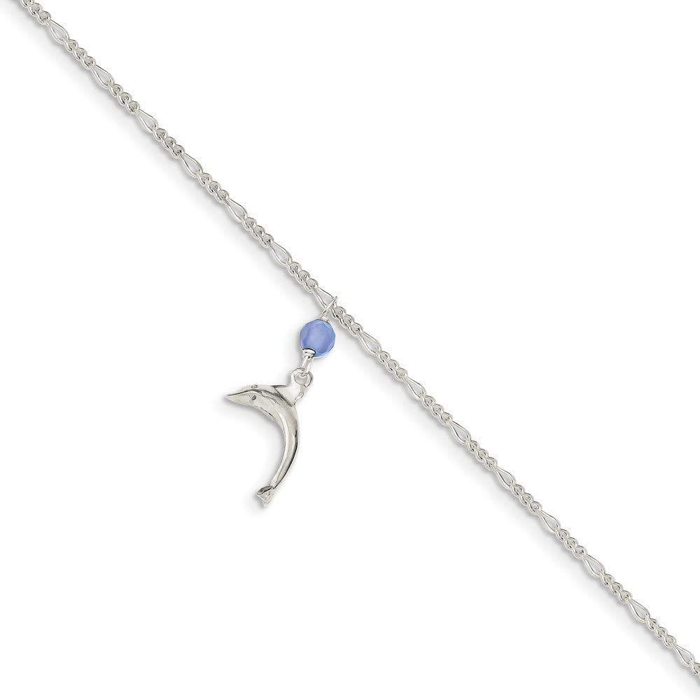925 Sterling Silver Blue Quartz Bead Dangling Dolphin Link Figaro Anklet Ankle Beach Chain Bracelet Fine Jewelry For Women Gifts For Her