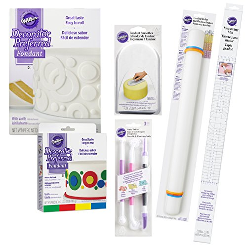 Wilton Fondant Tool Set, Intermediate, 15-Piece - White and Primary Color Fondant, Smoother, Rolling Pin,