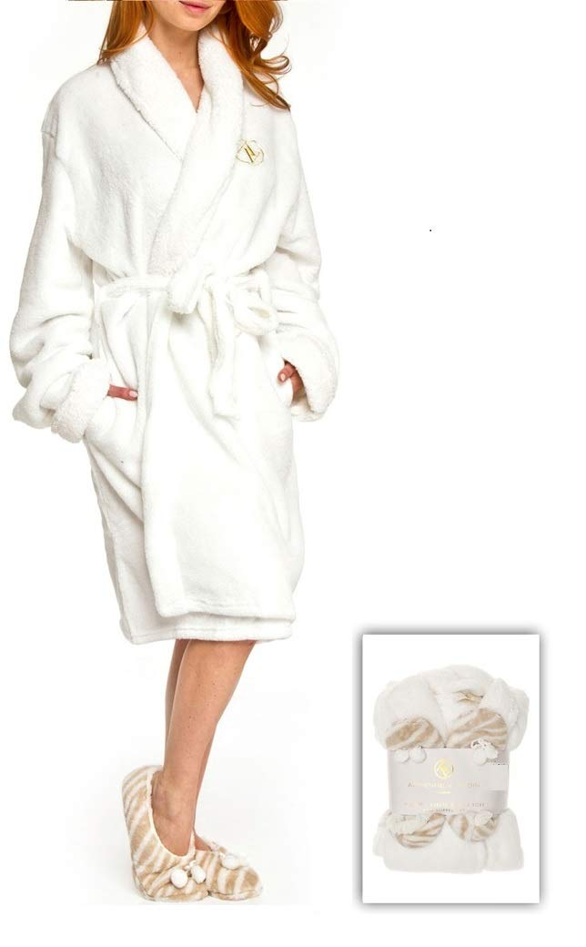 Adrienne Vittadini Women's Soft Plush Comfy Sherpa Lined House Bath Robe & Sherpa Printed Slippers Set,Robe-One Size/Slippers-S(6)/M(8),White With Beige Zebra Slippers
