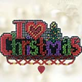 I Love Christmas Beaded Counted Cross Stitch Ornament Kit Mill Hill 2012 Winter Holiday MH18-2301