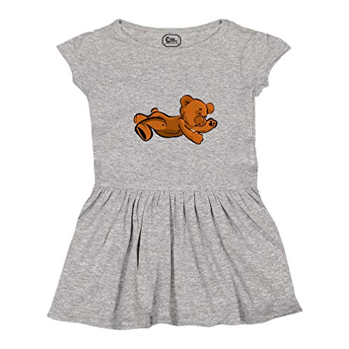 Teddy Bear Lying On Stomach Short Sleeve Taped Neck Girl Cotton Toddler Rib Dress School Clothes - Oxford Gray, 5/6T