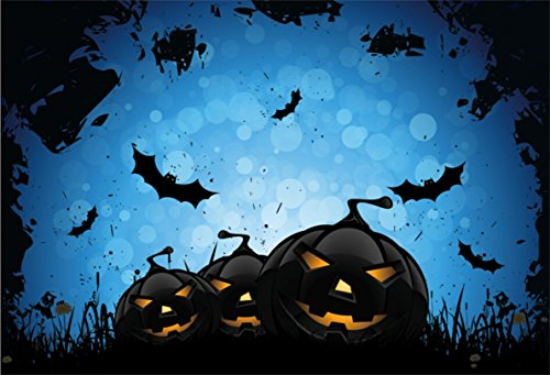 CSFOTO 5x3ft Background for Black Pumpkin Lantern Halloween Night Photography Backdrop Horror Dangerous Grass Abstract Funny Trick Celebrate Holiday Child Photo Studio Props Polyester Wallpaper